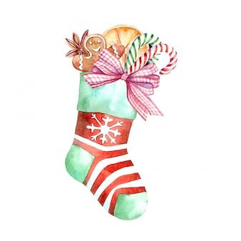 Acuarela calcetín navideño con dulces y regalos.