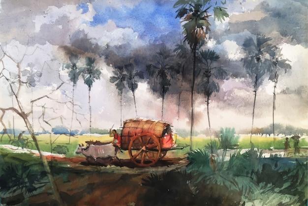 Acuarela carro de bueyes y paisaje naturaleza dibujado a mano ilustración