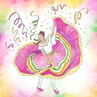 Acuarela cinco de mayo mujer bailando