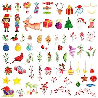 Acuarela colección de elementos navideños