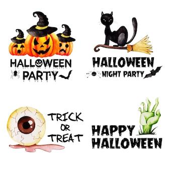 Acuarela colección de etiquetas de halloween