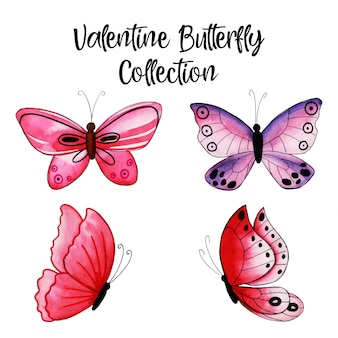 Acuarela colección de mariposas de san valentín