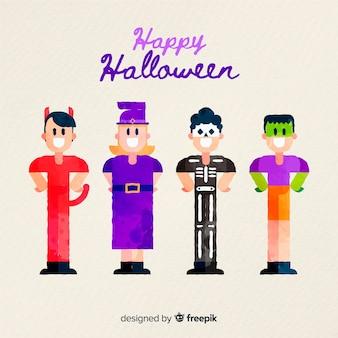 Acuarela colección de niños de halloween