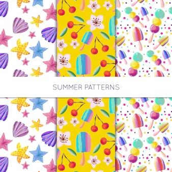 Acuarela colección verano patrón