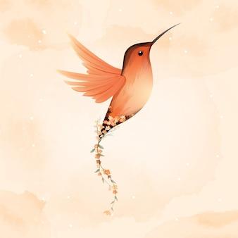 Acuarela de colibrí rufo y bella flor.