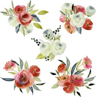 Acuarela de color borgoña y ramos de rosas blancas.