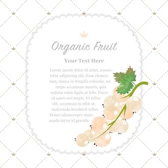 Acuarela colorida textura naturaleza fruta orgánica marco de nota grosella blanca