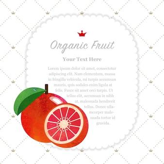 Acuarela colorida textura naturaleza fruta orgánica marco de nota pomelo rojo