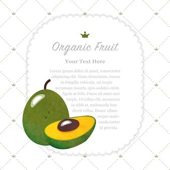 Acuarela colorida textura naturaleza fruta orgánica marco de nota pouteria lúcuma huevo fruta
