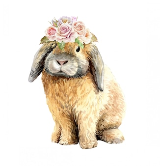 Acuarela conejo con ramo de flores corona.