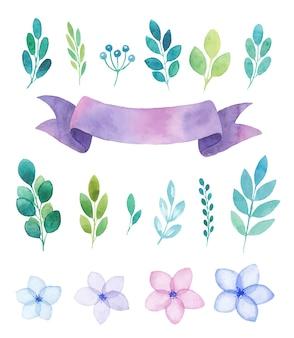 Acuarela conjunto de elementos, flores y ramitas, banner de cinta púrpura