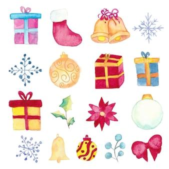 Acuarela conjunto de elementos de navidad