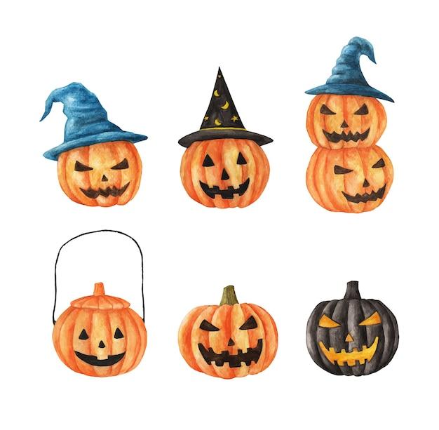 Acuarela conjunto de halloween. calabazas de caras talladas. ilustraciones de vacaciones dibujadas a mano aisladas