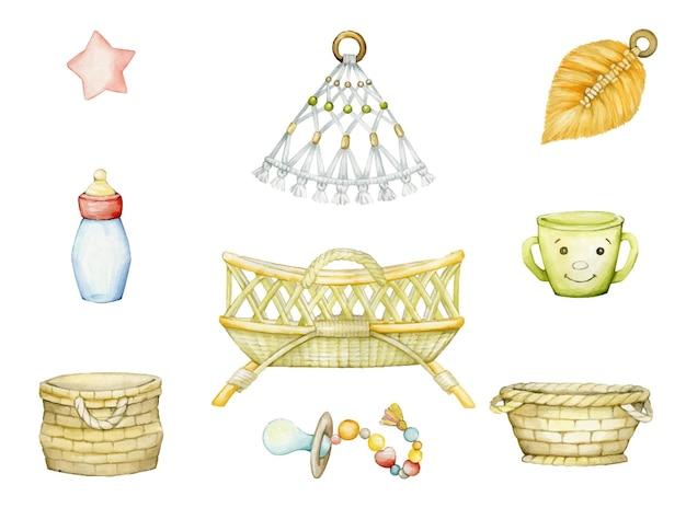 Acuarela conjunto de ilustraciones de la habitación infantil.