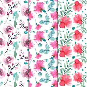 Acuarela conjunto de patrones de primavera