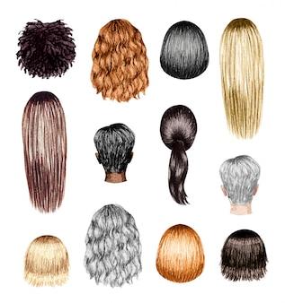 Acuarela conjunto de peinados de mujer aislado en blanco.