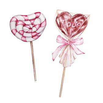 Acuarela conjunto de postres dibujados a mano, dulces en forma de corazón en un palo aislado