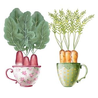 Acuarela conjunto de verduras en tazas