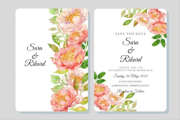 Acuarela coral peonías ilustración plantilla invitación boda