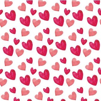 Acuarela corazones de patrones sin fisuras