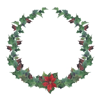 Acuarela corona floral de navidad