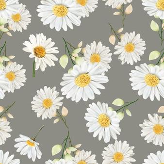 Acuarela crisantemo de patrones sin fisuras