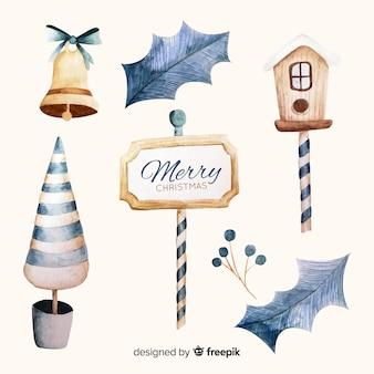 Acuarela decoración feliz navidad