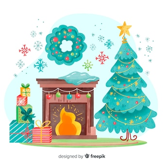 Acuarela decoración navideña en interiores