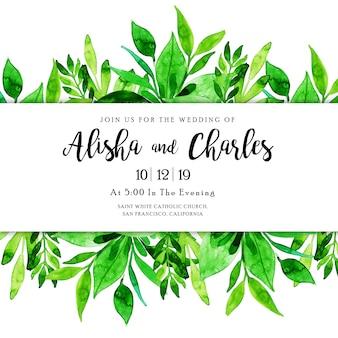 Acuarela deja tarjeta de invitación de boda