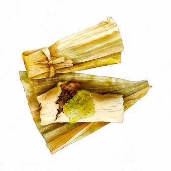 Acuarela deliciosos tamales tradicionales