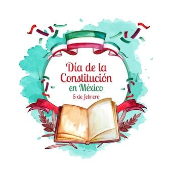 Acuarela del día de la constitución de méxico