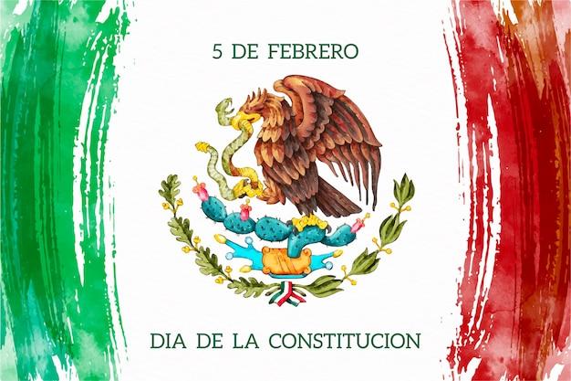 Acuarela día de la constitución de méxico