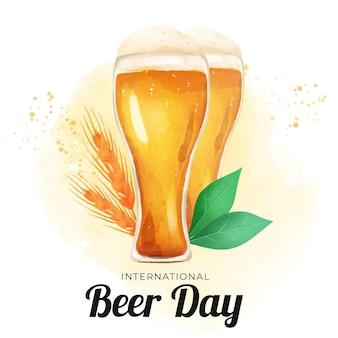 Acuarela día internacional de la cerveza con gafas