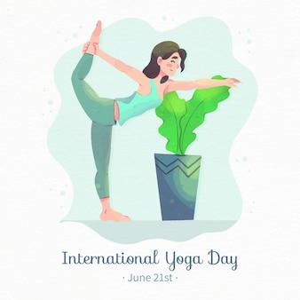 Acuarela día internacional de la ilustración de yoga