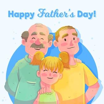Acuarela del día del padre con papá y abuelo