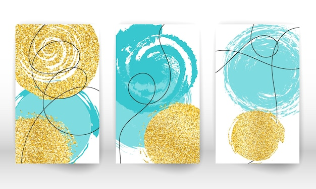 Acuarela dibujada a mano abstracta. formas de arte moderno. doodle líneas, partículas doradas.