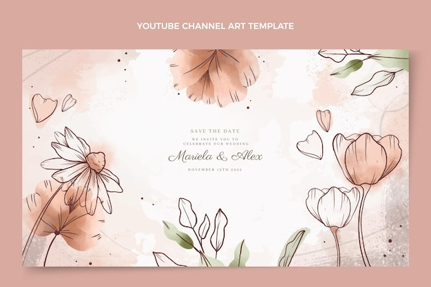 Acuarela dibujada a mano boda canal de youtube arte