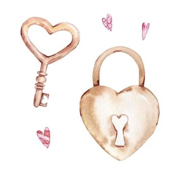 Acuarela dibujada a mano conjunto de cerradura beige y llave en forma de corazón aislado sobre fondo blanco.