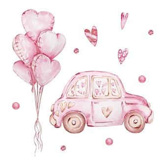 Acuarela dibujada a mano conjunto de coche rosa y globos en forma de corazón aislado sobre fondo blanco.