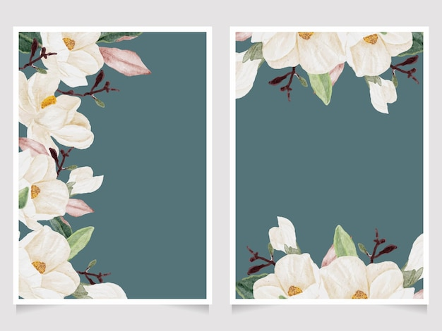 Acuarela dibujada a mano flor de magnolia blanca y ramo de rama de hoja verde colección de plantillas de tarjeta de invitación de boda