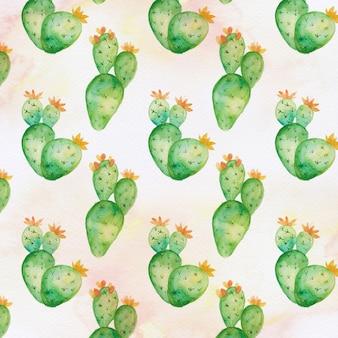 Acuarela dibujada a mano patrón de cactus y suculentas.