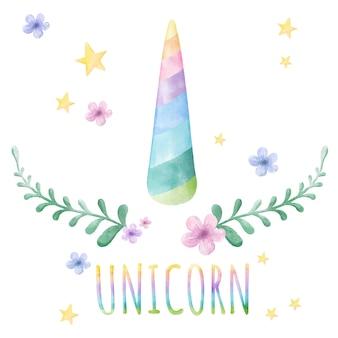 Acuarela dibujado a mano lindo cuerno de unicornio.