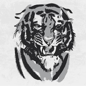 Acuarela dibujo de tigre mirando enojado.
