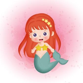 Acuarela de dibujos animados lindo sirena.