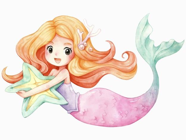 Acuarela de dibujos animados de personaje de sirena