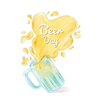 Acuarela diseño día internacional de la cerveza