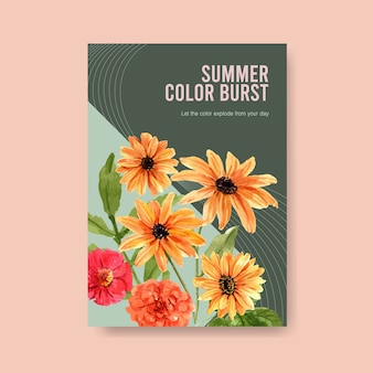 Acuarela de diseño de plantilla de cartel de flor de verano