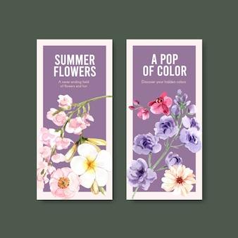Acuarela de diseño de plantilla de flyer de flor de verano