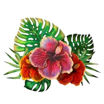 Acuarela diseño tropical de verano para banner con hojas de palmeras exóticas, flores de hibisco