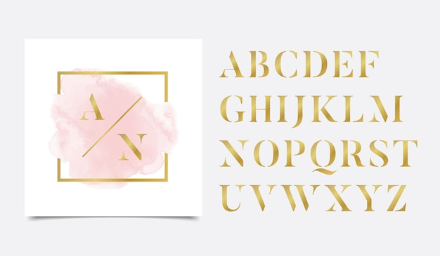 Acuarela dorada de iniciales con diseño de logo lineal dorado